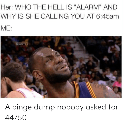 "binge: Her: WHO THE HELL IS ""ALARM"" AND  WHY IS SHE CALLING YOU AT 6:45am  ME:  ESFT A binge dump nobody asked for 44/50"