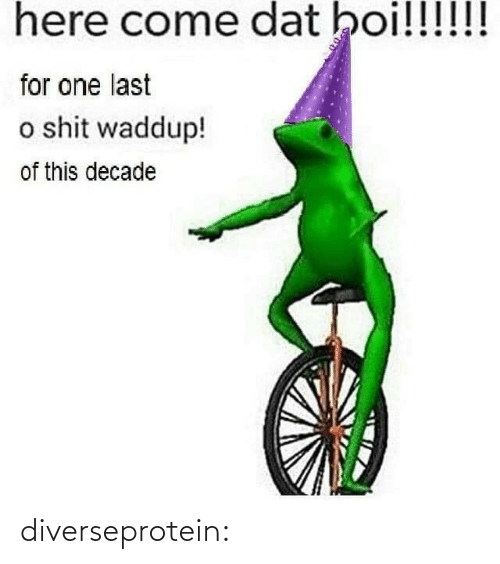 boi: here come dat boi!!!!!!  for one last  o shit waddup!  of this decade diverseprotein: