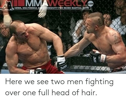 men: Here we see two men fighting over one full head of hair.