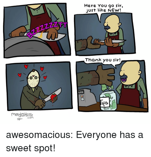Tumblr, Thank You, and Blog: Here You 90 sir,  just like NEw!  Thank you sir!  b.6E  0  Ps awesomacious:  Everyone has a sweet spot!