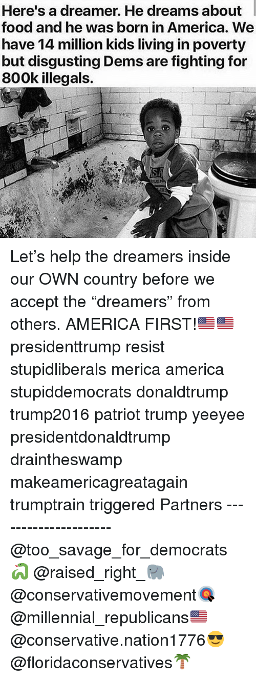 """America, Food, and Memes: Here's a dreamer. He dreams about  food and he was born in America. We  have 14 mi rty  but disgusting Dems are fighting for  800k illegals.  llion kids living in pove Let's help the dreamers inside our OWN country before we accept the """"dreamers"""" from others. AMERICA FIRST!🇺🇸🇺🇸 presidenttrump resist stupidliberals merica america stupiddemocrats donaldtrump trump2016 patriot trump yeeyee presidentdonaldtrump draintheswamp makeamericagreatagain trumptrain triggered Partners --------------------- @too_savage_for_democrats🐍 @raised_right_🐘 @conservativemovement🎯 @millennial_republicans🇺🇸 @conservative.nation1776😎 @floridaconservatives🌴"""