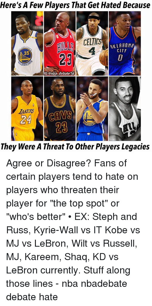 "Stephe: Here's A Few Players That Get Hated Because  CELTICS  4  OKLAHOM  CITY  35  29  IG:@nba debate16  AKERS  24 CAVS  29  ARRIO  They Were A Threat To Other Players Legacies Agree or Disagree? Fans of certain players tend to hate on players who threaten their player for ""the top spot"" or ""who's better"" • EX: Steph and Russ, Kyrie-Wall vs IT Kobe vs MJ vs LeBron, Wilt vs Russell, MJ, Kareem, Shaq, KD vs LeBron currently. Stuff along those lines - nba nbadebate debate hate"