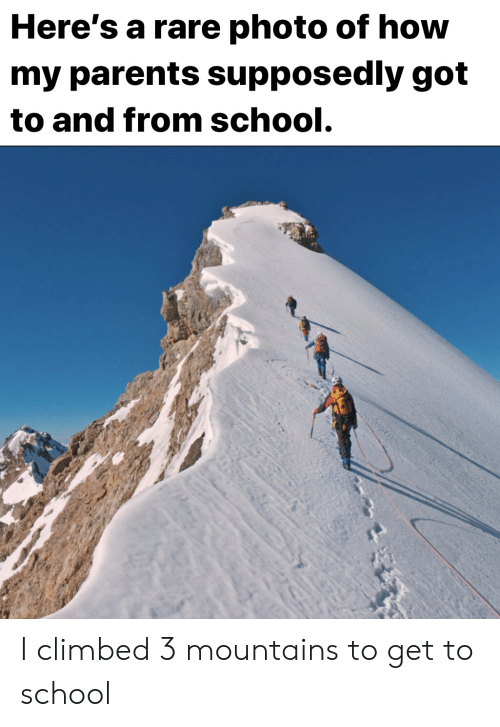 Parents, School, and How: Here's a rare photo of how  my parents supposedly got  to and from school. I climbed 3 mountains to get to school