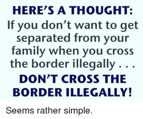 Family, Memes, and Cross: HERE'S A THOUGHT:  If you don't want to get  separated from your  family when you cross  the border illegally . . .  DON'T CROSS THE  BORDER ILLEGALLY! Seems rather simple.