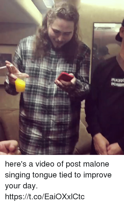 Post Malone, Singing, and Video: here's a video of post malone singing tongue tied to improve your day. https://t.co/EaiOXxlCtc
