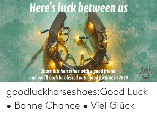 good luck: Here's luck betuween us  LUCK  Share this horseshoe with a good friend  and you'll both be blessed with good fortune in 2020  HORSESHOES goodluckhorseshoes:Good Luck • Bonne Chance • Viel Glück