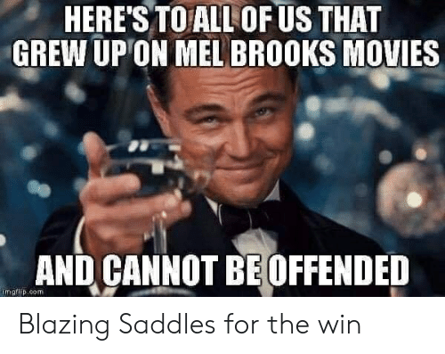 blazing saddles: HERE'S TO ALL OF US THAT  GREW UP ON MEL BROOKS MOVIES  AND CANNOT BE OFFENDED  imgflip.com Blazing Saddles for the win