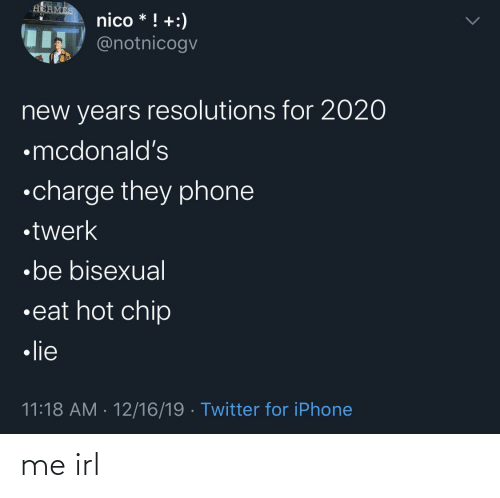 New Year's Resolutions: HERMES  nico * ! +:)  IT @notnicogv  new years resolutions for 2020  •mcdonald's  •charge they phone  •twerk  •be bisexual  •eat hot chip  • lie  11:18 AM · 12/16/19 · Twitter for iPhone me irl