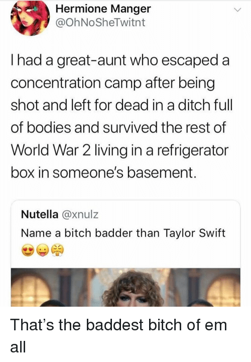 Bitch, Bodies , and Hermione: Hermione Manger  @OhNoSheTwitnt  I had a great-aunt who escaped a  concentration camp after being  shot and left for dead in a ditch ful  of bodies and survived the rest of  World War 2 living in a refrigerator  box in someone's basement  Nutella @xnulz  Name a bitch badder than Taylor Swift That's the baddest bitch of em all