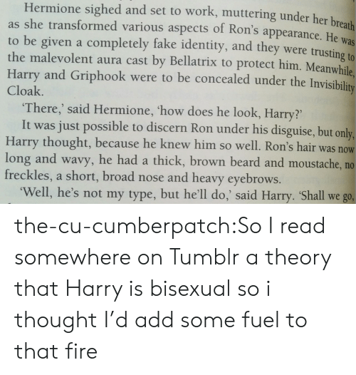 Not My Type: Hermione sighed and set to work, muttering under her br  as she transformed various aspects of Ron's appearance. He was  to be given a completely fake identity, and they were trusting to  the malevolent aura cast by Bellatrix to protect him. Meanwhile.  Harry and Griphook were to be concealed under the Invi  Cloak  There,' said Hermione, 'how does he look, Harry?'  It was just possible to discern Ron under his disguise, but only,  Harry thought, because he knew him so well. Ron's hair was  long and wavy, he had a thick, brown beard and moustache, no  freckles, a short, broad nose and heavy eyebrows.  now  Well, he's not my type, but he'll do,' said Harry. Shall we go, the-cu-cumberpatch:So I read somewhere on Tumblr a theory that Harry is bisexual so i thought I'd add some fuel to that fire