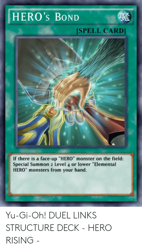 HERO's BOND SPELL CARD if There Is a Face-Up HERO Monster on the