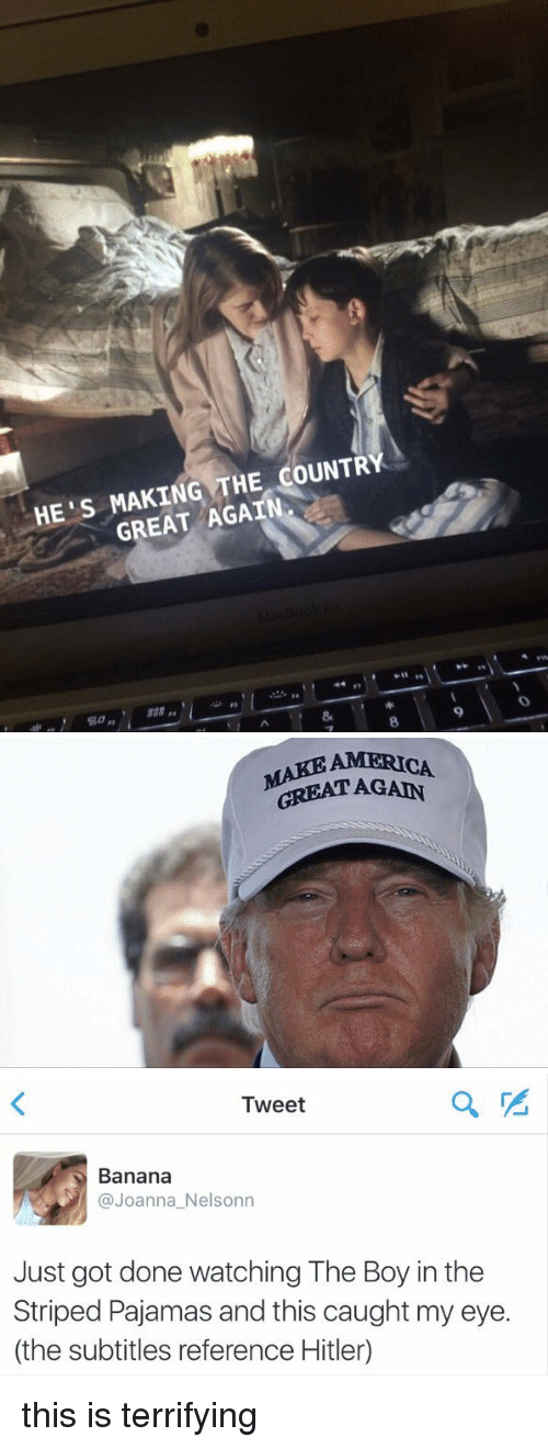 America, Funny, and Banana: HE'S MAKING THE COUNTRY  GREAT AGAIN   AMERICA  GREAT AGAIN.   Tweet  Banana  Joanna Nelsonn  Just got done watching The Boy in the  Striped Pajamas and this caught my eye.  (the subtitles reference Hitler) this is terrifying