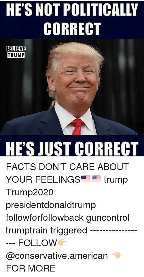 Facts, Memes, and American: HE'S NOT POLITICALLY  CORRECT  BELIEVE  TRUMP  HE'S JUST CORRECT FACTS DON'T CARE ABOUT YOUR FEELINGS🇺🇸🇺🇸 trump Trump2020 presidentdonaldtrump followforfollowback guncontrol trumptrain triggered ------------------ FOLLOW👉🏼 @conservative.american 👈🏼 FOR MORE