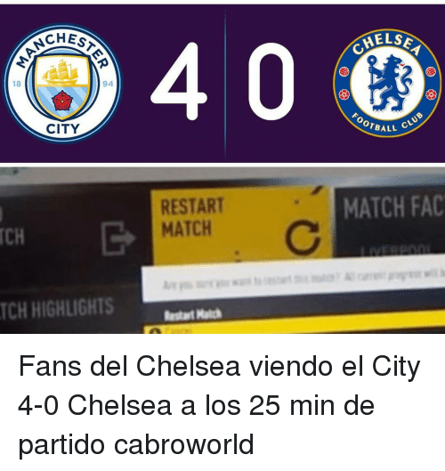 Chelsea, Club, and Fac: HEST  NCH  CHELO  18  94  CITY  FOOTBA  LL CLUB  RESTART  MATCH  MATCH FAC  TCH  TCH HIGHLIGHTS  start Hatc Fans del Chelsea viendo el City 4-0 Chelsea a los 25 min de partido cabroworld