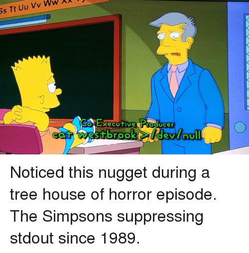 The Simpsons, House, and The Simpsons: HExecutive Producer Noticed this nugget during a tree house of horror episode. The Simpsons suppressing stdout since 1989.