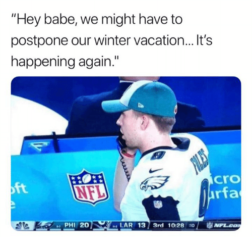 "Andrew Bogut, Nfl, and Winter: ""Hey babe, we might have to  postpone our winter vacation...It's  happening again.""  cro  rfa  ft  PHI 20  LAR 13 3rd 10:28 110  1 审N"