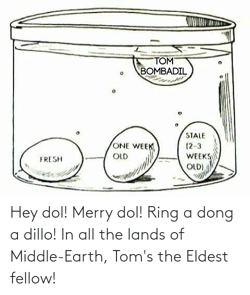 Toms: Hey dol! Merry dol! Ring a dong a dillo! In all the lands of Middle-Earth, Tom's the Eldest fellow!