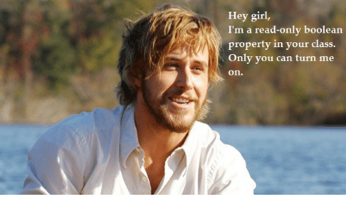 boolean: Hey girl,  I'm a read-only boolean  property in your class  Only you can turn me  on.