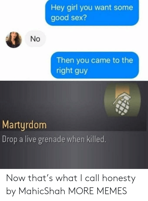 Drop A: Hey girl you want some  good sex?  Then you came to the  right guy  Martyrdom  Drop a live grenade when killed.  No Now that's what I call honesty by MahicShah MORE MEMES