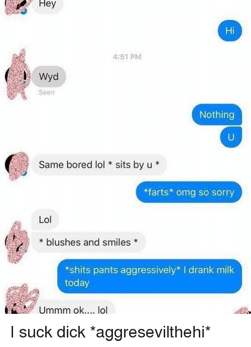 Bored, Lol, and Omg: Hey  Hi  4:51 PM  Seen  Nothing  Same bored lolsits by u  farts* omg so sorry  Lol  blushes and smiles*  *shits pants aggressively* I drank milk  today  Ummm okrtt lo I suck dick *aggresevilthehi*