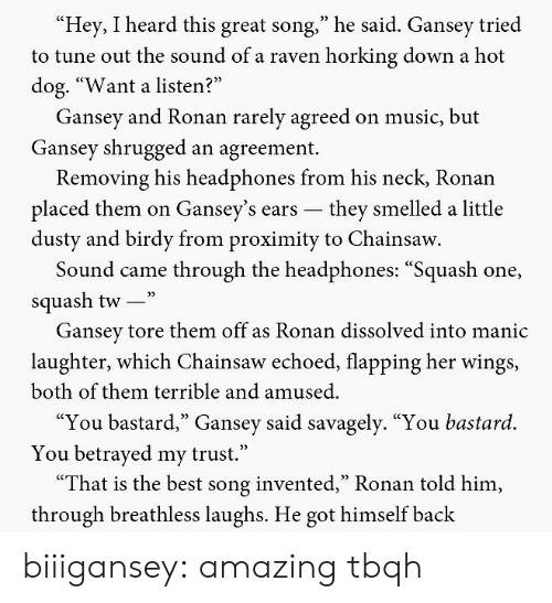"both of them: Hey, I heard this great song,"" he said. Gansey tried  to tune out the sound of a raven horking down a hot  dog. ""Want a listen?  Gansey and Ronan rarely agreed on music, but  Gansey shrugged an agreement.  Removing his headphones from his neck, Ronan  placed them on Gansey's ears -they smelled a little  dusty and birdy from proximity to Chainsaw  Sound came through the headphones: ""Squash one,  squash tw-""  Gansev tore them off as Ronan dissolved into manic  laughter, which Chainsaw echoed, flapping her wings,  both of them terrible and amused.  ""You bastard,"" Gansey said savagely. ""You bastard.  You betrayed my trust.""  ""That is the best song invented,"" Ronan told him,  through breathless laughs. He got himself back biiigansey: amazing tbqh"