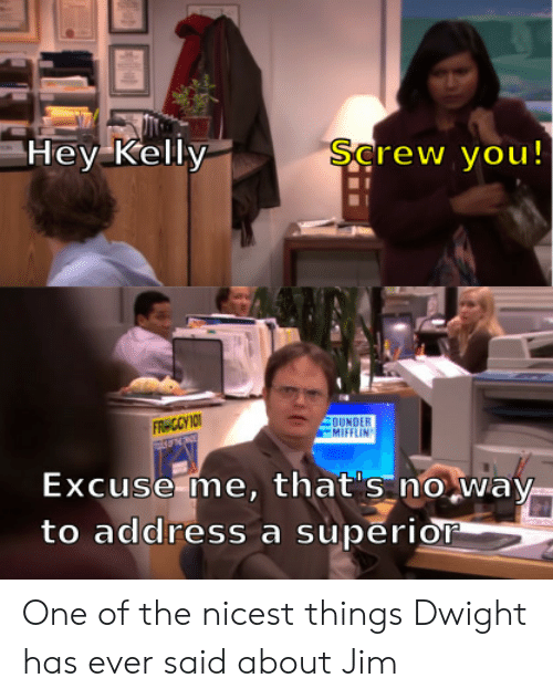Superior, One, and Dunder Mifflin: Hey Kelly  Şcrew you!  DUNDER  MIFFLIN  FR CCY IO  Excuse me, that's no way-  to address a superior One of the nicest things Dwight has ever said about Jim