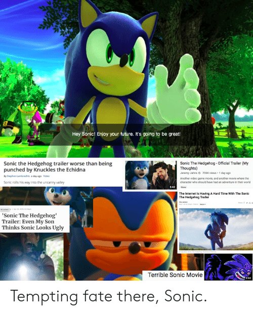 Hey Sonic Enjoy Your Future It S Going To Be Great Sonic The Hedgehog Trailer Worse Than Being Punched By Knuckles The Echidna Sonic The Hedgehog Official Trailer My Thoughts Emy Jahns 706k