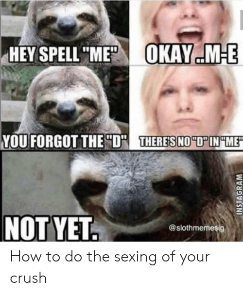 """Crush, How To, and How: HEY SPELL """"N  KAYE:MEE  YOU FORGOT THE D  THERES  @slothmemesig How to do the sexing of your crush"""