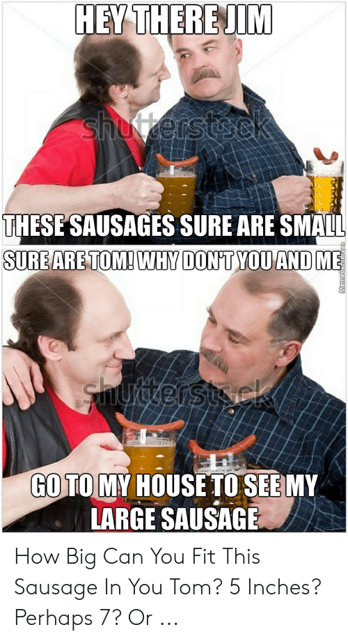 Sausage Meme: HEY THERE!M  THESE SAUSAGES SURE ARE SMALL  SUREARE TOM! WHY DONTYOU ANDME  GO TO MY HOUSE TO SEEMY  LARGE SAUSAGE How Big Can You Fit This Sausage In You Tom? 5 Inches? Perhaps 7? Or ...