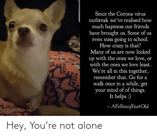 Not Alone: Hey, You're not alone