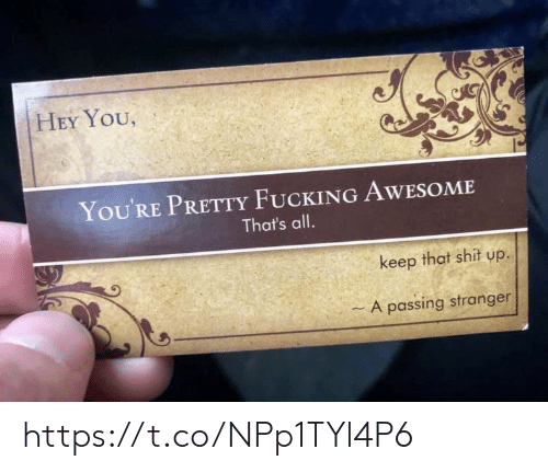 Fucking, Memes, and Shit: HEY YOU,  You'RE PRETTY FUCKING AWESOME  That's all.  keep that shit up.  - A passing stranger https://t.co/NPp1TYl4P6