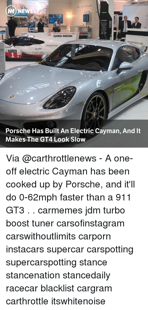 Porsche: HH NEWS  DMG MORI  Porsche Has Built An Electric Cayman, And It  Makes The GT4 Look Slow Via @carthrottlenews - A one-off electric Cayman has been cooked up by Porsche, and it'll do 0-62mph faster than a 911 GT3 . . carmemes jdm turbo boost tuner carsofinstagram carswithoutlimits carporn instacars supercar carspotting supercarspotting stance stancenation stancedaily racecar blacklist cargram carthrottle itswhitenoise