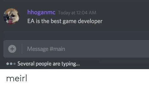 Game Developer: hhoganmc Today at 12:04 AM  EA is the best game developer  Message #main  Several people are typing... meirl