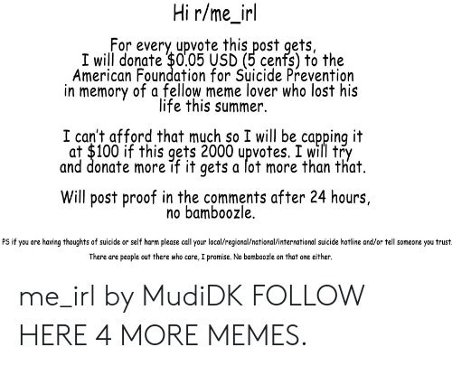 Capping: Hi r/me_irl  For every upvote this post gets,  I will donate $0.05 USD (5 cenfs) to the  American Foundation for Suicide Prevention  in memory of a fellow meme lover who lost his  life this summer.  I can't afford that much so I will be capping it  at $100 if this gets 2000 upvotes. I will try  and donate more if it gets a lot more than that.  Will post proof in the comments after 24 hours,  no bamboozle.  PS if you are having thoughts of suicide or self harm please call your local/regional/national/international suicide hotline and/or tell someone you trust  There are people out there who care, I promise. No bamboozle on that one either. me_irl by MudiDK FOLLOW HERE 4 MORE MEMES.