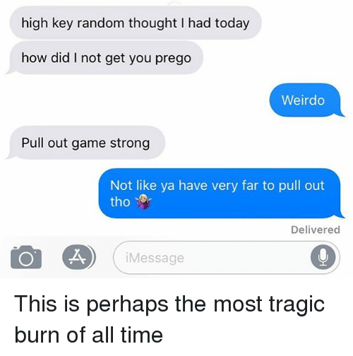 Relationships, Texting, and Game: high key random thought I had today  how did I not get you prego  Weirdo  Pull out game strong  Not like ya have very far to pull out  tho  Delivered  Message This is perhaps the most tragic burn of all time