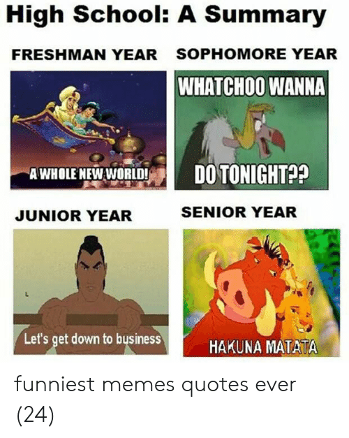 Memes, School, and Quotes: High School: A Summary  FRESHMAN YEAR  SOPHOMORE YEAR  WHATCHO0 WANNA  AWHOLE NEW WORLD!P!  DO TONIGHT??  JUNIOR YEAR  SENIOR YEAR  Let's get down to businessHAKUNA MATATA funniest memes quotes ever (24)
