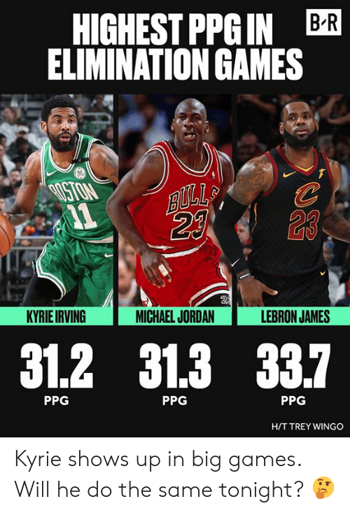 Kyrie Irving, LeBron James, and Michael Jordan: HIGHEST PPGIN BR  ELIMINATION GAMES  ISTON  23  2  KYRIE IRVING  MICHAEL JORDAN  LEBRON JAMES  31.2 31.3 33.7  PPG  PPG  PPG  HIT TREY WINGO Kyrie shows up in big games. Will he do the same tonight? 🤔