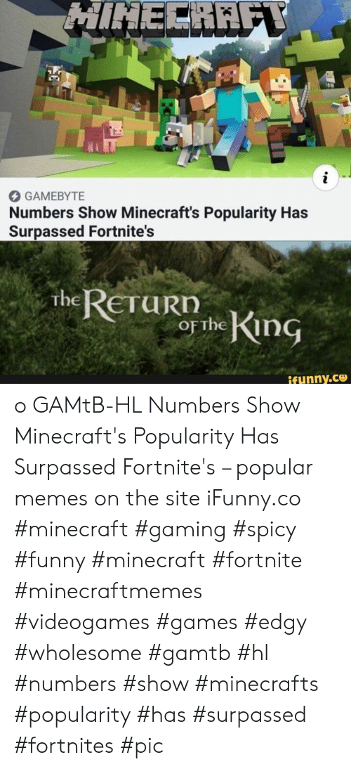 Edgy: HINECRAFY  i  GAMEBYTE  Numbers Show Minecraft's Popularity Has  Surpassed Fortnite's  The RETURN  OF the King  ifunny.co o GAMtB-HL Numbers Show Minecraft's Popularity Has Surpassed Fortnite's – popular memes on the site iFunny.co #minecraft #gaming #spicy #funny #minecraft #fortnite #minecraftmemes #videogames #games #edgy #wholesome #gamtb #hl #numbers #show #minecrafts #popularity #has #surpassed #fortnites #pic