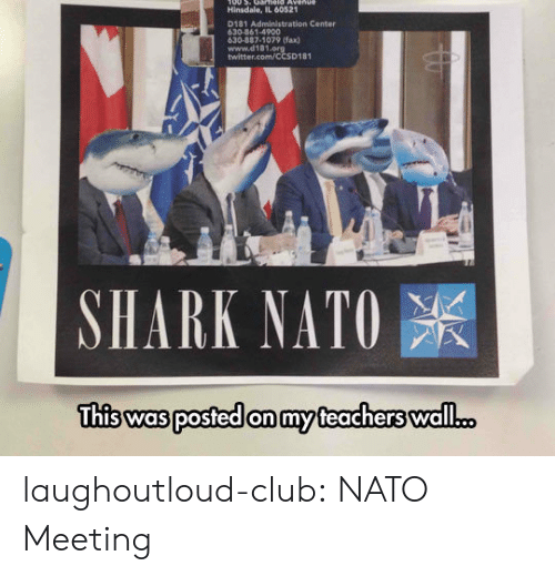Club, Tumblr, and Twitter: Hinsdale, IL 60521  D181 Administration Center  630-861-4900  630-887-1079 (fax)  www.d181  twitter.com/CCSD181  SHARK NATO  was posted on my laughoutloud-club:  NATO Meeting