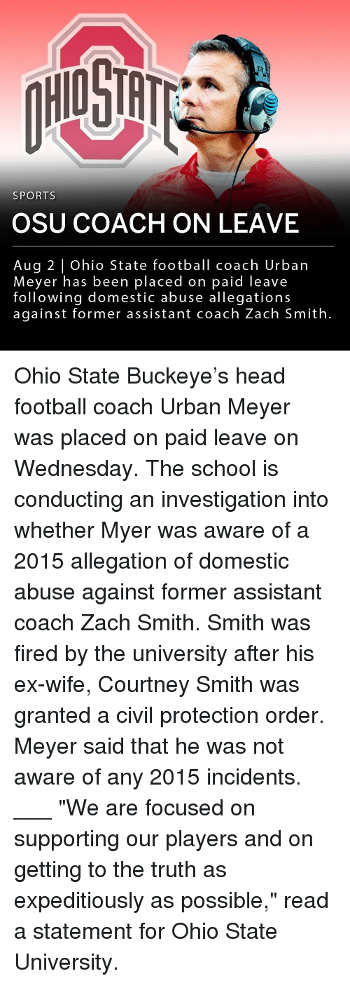 """meyer: HIO STH  SPORTS  OSU COACH ON LEAVE  Aug 2 