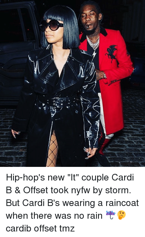 "Memes, Rain, and Cardi B: Hip-hop's new ""It"" couple Cardi B & Offset took nyfw by storm. But Cardi B's wearing a raincoat when there was no rain ☔️🤔 cardib offset tmz"