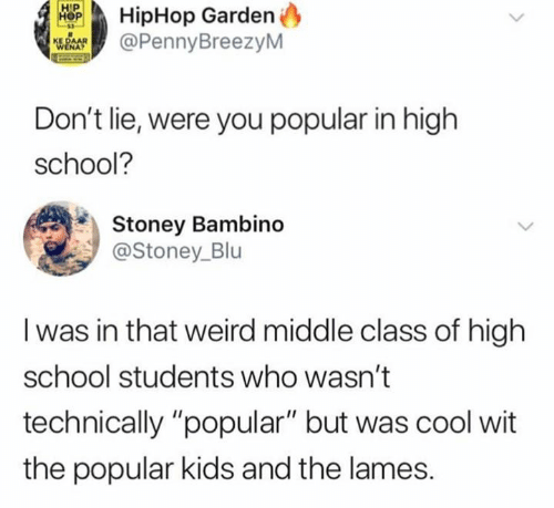 """Hiphop: HipHop Garden  @PennyBreezyM  Don't lie, were you popular in high  school?  Stoney Bambino  @Stoney_Blu  I was in that weird middle class of high  school students who wasn't  technically """"popular"""" but was cool wit  the popular kids and the lames."""