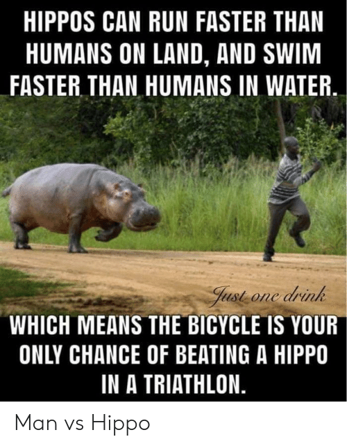 Run, Bicycle, and Water: HIPPOS CAN RUN FASTER THAN  HUMANS ON LAND, AND SWIM  FASTER THAN HUMANS IN WATER  Just one drink  WHICH MEANS THE BICYCLE IS YOUR  ONLY CHANCE OF BEATING A HIPPO  IN A TRIATHLON. Man vs Hippo