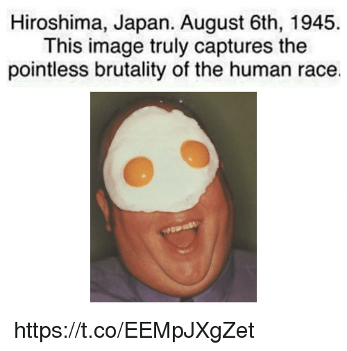 Image, Japan, and Race: Hiroshima, Japan. August 6th, 1945.  This image truly captures the  pointless brutality of the human race. https://t.co/EEMpJXgZet