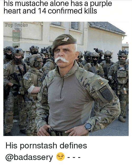Being Alone, Memes, and Pop: his mustache alone has a purple  heart and 14 confrmed kills  Pop Smoke  118  RED His pornstash defines @badassery 😏 - - -
