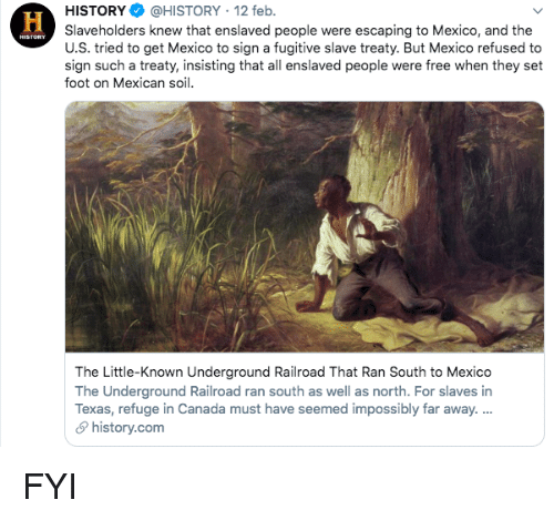 refuge: HİSTORY$ @HISTORY , 12 feb.  Slaveholders knew that enslaved people were escaping to Mexico, and the  U.S. tried to get Mexico to sign a fugitive slave treaty. But Mexico refused to  sign such a treaty, insisting that all enslaved people were free when they set  foot on Mexican soil  The Little-Known Underground Railroad That Ran South to Mexico  The Underground Railroad ran south as well as north. For slaves in  Texas, refuge in Canada must have seemed impossibly far away.  history.com FYI