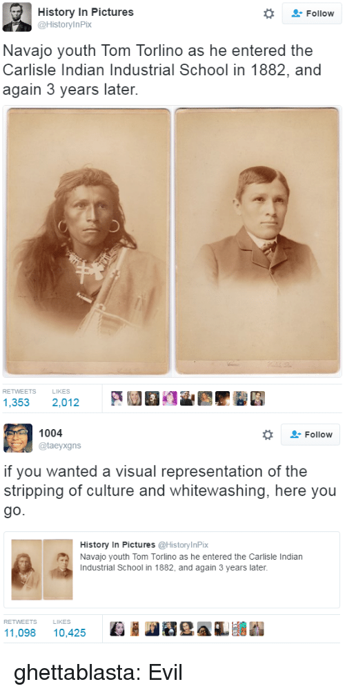 stripping: History In Pictures  @HistoryInPix  Follow  Navajo youth Tom Torlino as he entered the  Carlisle Indian Industrial School in 1882, and  again 3 years later.  RETWEETS  LIKES  1,353 2,012   1004  @taeyxgns  Follow  if you wanted a visual representation of the  stripping of culture and whitewashing, here you  go.  History In Pictures @HistoryInPix  Navajo youth Tom Torlino as he entered the Carlisle Indian  Industrial School in 1882, and again 3 years later.  RETWEETS  LIKES  11,098 10,425 Ki HeAL ghettablasta:  Evil