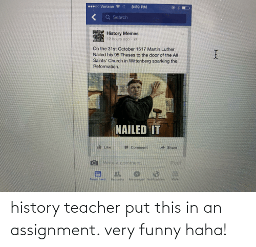 very funny: history teacher put this in an assignment. very funny haha!