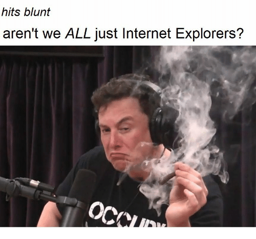 Internet, Dank Memes, and All: hits blunt  aren't we ALL just Internet Explorers?  111 1: