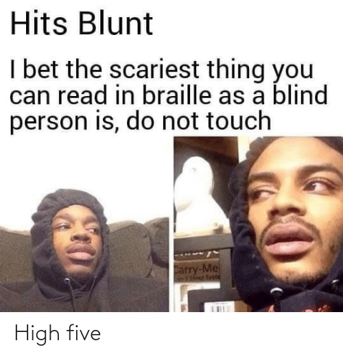 blind: Hits Blunt  I bet the scariest thing you  can read in braille as a blind  person is, do not touch  Carry-Me  Fleep Svetd High five